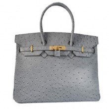 Hermes Birkin 35CM Tote Bags Ostrich Togo Leather Grey Golden