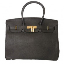Hermes Birkin 35CM Tote Bags Smooth Togo Leather Black Golden