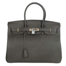 Hermes Birkin 35CM Tote Bags Smooth Togo Leather Black Silver