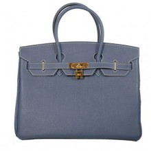Hermes Birkin 35CM Tote Bags Smooth Togo Leather Dark Blue Golden