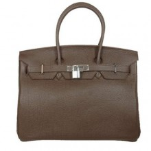 Hermes Birkin 35CM Tote Bags Smooth Togo Leather Dark Coffee Silver