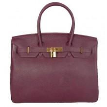 Hermes Birkin 35CM Tote Bags Smooth Togo Leather Dark Purple Golden