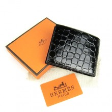 Hermes Black Crocodile Veins Bi Fold Wallet H014