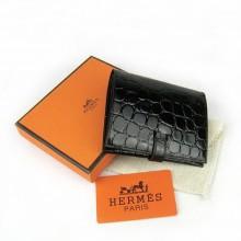 Hermes Black Crocodile Veins Wallet H006
