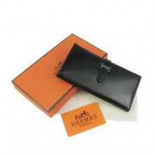 Hermes Black Kelly Wallet Cow Leather H009