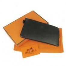 Hermes Black Zip Around Wallet Cow Leather H010