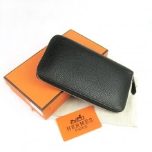 Hermes Black Zippy Cow Leather Wallet H016