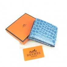 Hermes Blue Crocodile Veins Bi Fold Wallet H014