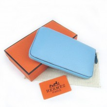Hermes Blue Zippy Cow Leather Wallet H016