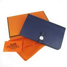 Hermes Calf Leather Dogon Wallet H001 Dark Blue
