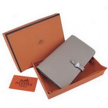 Hermes Calf Leather Dogon Wallet H001 Grey