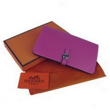 Hermes Calf Leather Dogon Wallet H001 Purple