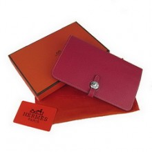 Hermes Calf Leather Dogon Wallet H001 Red
