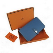 Hermes Calf Leather Dogon Wallet H001 Sky Blue