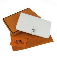 Hermes Calf Leather Dogon Wallet H001 White