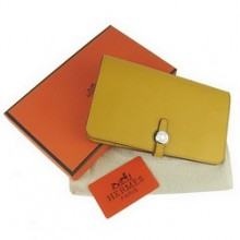 Hermes Calf Leather Dogon Wallet H001 Yellow