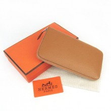 Hermes Coffee Zippy Cow Leather Wallet H016
