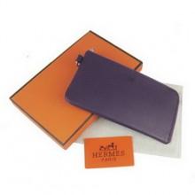 Hermes Dark Blue Zip Around Wallet Cow Leather H010