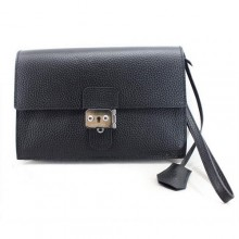 Hermes Jet Pochette Clutch Bag Clemence Leather Black