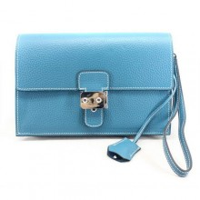 Hermes Jet Pochette Clutch Bag Clemence Leather Blue