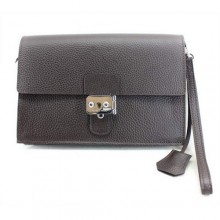 Hermes Jet Pochette Clutch Bag Clemence Leather Brown
