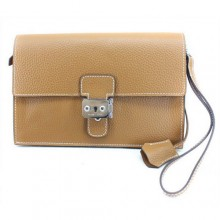 Hermes Jet Pochette Clutch Bag Clemence Leather Camel