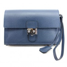 Hermes Jet Pochette Clutch Bag Clemence Leather Dark Blue