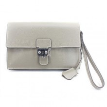 Hermes Jet Pochette Clutch Bag Clemence Leather Grey