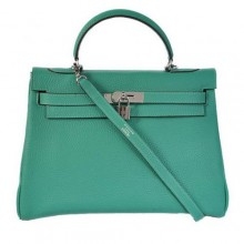 Hermes Kelly 32cm Bags Togo Leather Green Silver