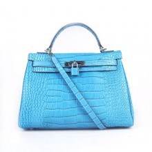 Hermes Kelly 32cm Crocodile Veins Leather Bag Blue Silver 6108
