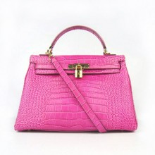Hermes Kelly 32cm Crocodile Veins Leather Bag Peachblow
