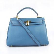 Hermes Kelly 32cm Togo Leather Bag Blue 6108 Gold