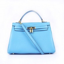 Hermes Kelly 32cm Togo Leather Bag Light Blue 6108 Gold