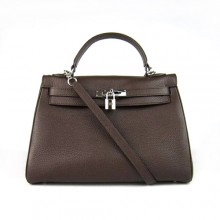 Hermes Kelly 32cm Togo Leather Dark Coffee Bag 6108 Silver