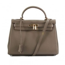 Hermes Kelly 32cm Togo Leather Handbags 6018 Dark Grey Golden
