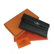 Hermes Kelly Wallet Black Cow Leather H009