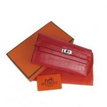 Hermes Kelly Wallet Red Crocodile Veins H009