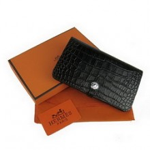 Hermes Leather Crocodile Veins Dogon Wallet H001 Black