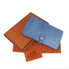 Hermes Leather Crocodile Veins Dogon Wallet H001 Blue