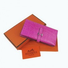 Hermes Leather Crocodile Veins Long Wallet H005
