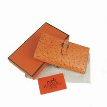 Hermes Leather Long Wallet H005 Orange