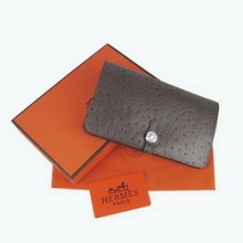 Hermes Leather Ostrich Veins Dogon Wallet H001 Coffee