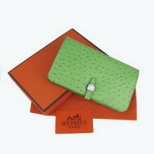 Hermes Leather Ostrich Veins Dogon Wallet H001 Green