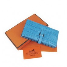 Hermes Leather Ostrich Veins Long Wallet H005 Blue