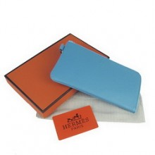 Hermes Light Blue Zip Around Wallet Cow Leather H010