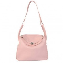 Hermes Lindy 30CM Havanne Handbags 1057 Pink Leather Silver