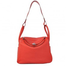 Hermes Lindy 30CM Havanne Handbags 1057 Red Leather Silver