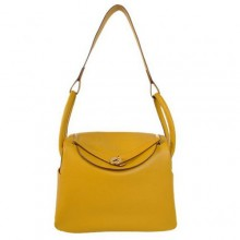 Hermes Lindy 30CM Havanne Handbags 1057 Yellow Leather Golden