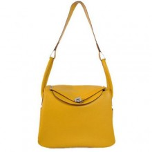 Hermes Lindy 30CM Havanne Handbags 1057 Yellow Leather Silver