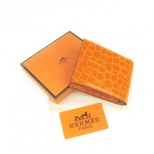 Hermes Orange Crocodile Veins Bi Fold Wallet H014